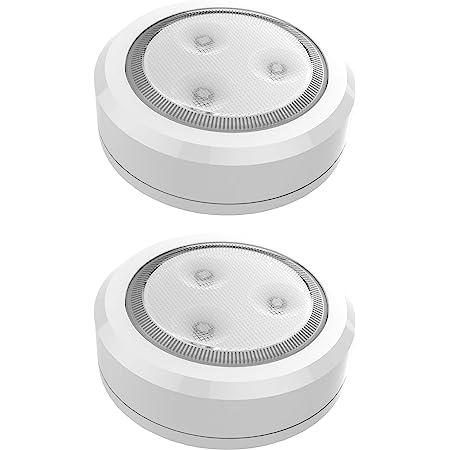 Brilliant Evolution BRRC113 Ultra Thin Wireless LED Puck Light 2 Pack | LED Under Cabinet Lighting | Closet Lights Battery Operated | Battery Powered Lights | Push Lights | Tap Light | Touch Light