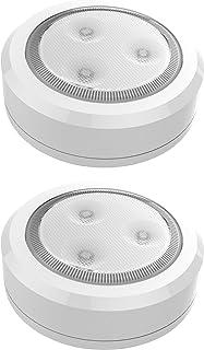Brilliant Evolution BRRC113 Ultra Thin Wireless LED Puck Light 2 Pack | LED Under Cabinet Lighting | Closet Light | Batter...
