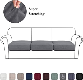 Jacquard Chair Cushion Cover Set of 3, High Stretch Chair Loveseat Sofa Seat Slipcovers, Sofa Couch Seat Coats Furniture Protector (3 Pieces Cushion Covers, Charcoal Gray)