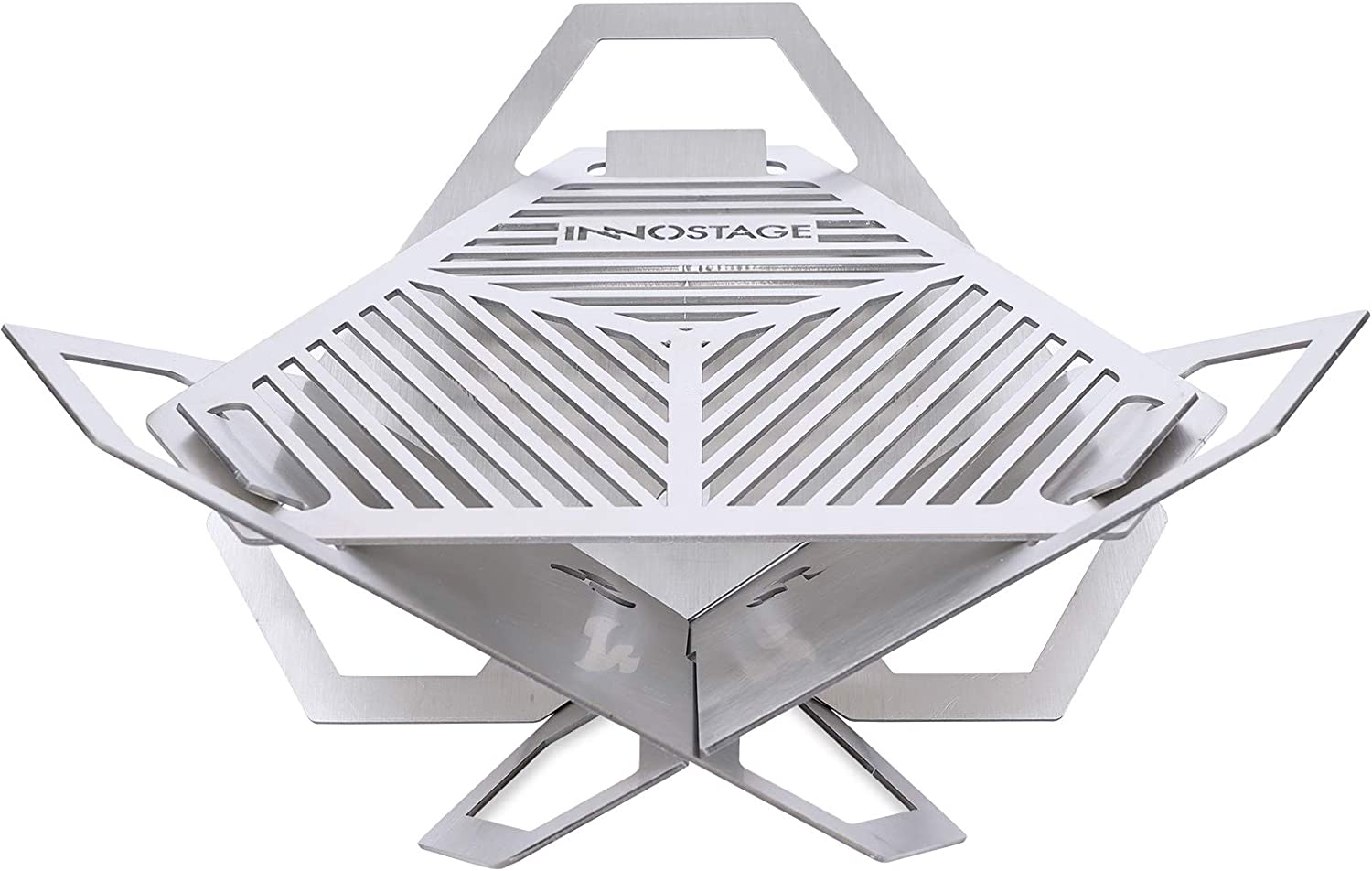 INNO STAGE Patented Mini Fire Pit Charcoal Grill, Stainless Steel Barbecue Firepit, Portable Cross BBQ Grill for Backpacking