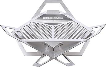 INNO STAGE Patentierter Mini-Feuerstellen-Holzkohlegrill, Grillgrube aus Edelstahl, tragbarer Kreuzgrill für Rucksacktouren