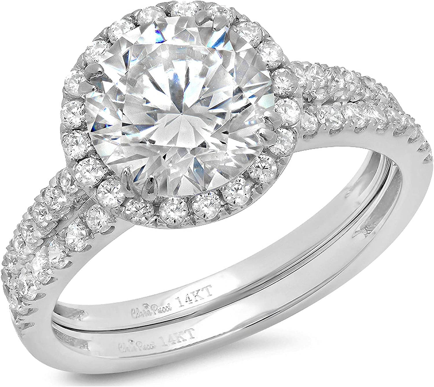 2.72ct Round Cut Halo Pave Solitaire Accent Lab Created White Sapphire & Simulated Diamond Engagement Promise Statement Anniversary Bridal Wedding Ring Band set Real Solid 14k White Gold
