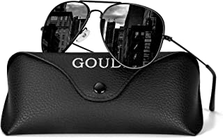 Aviator Sunglasses for Men Women - GOUDI Polarized Metal Frame Lightweight UV 400 Protection Mens Women Sunglasses GD9002