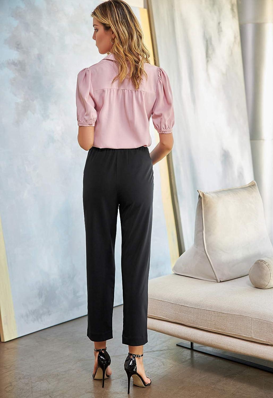 GRACE KARIN Women Elastic High Waist Pull On Work Pants with Pocket Straight Leg Pants