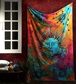 Marubhumi Psychedelic Sun Moon Stars Tie Dye Mandala Tapestry Hippie Hippy Celestial Wall Hanging Indian Trippy Bohemian Tapestries (Multi, 55 X 85 Inch (140 x 215 Cms)