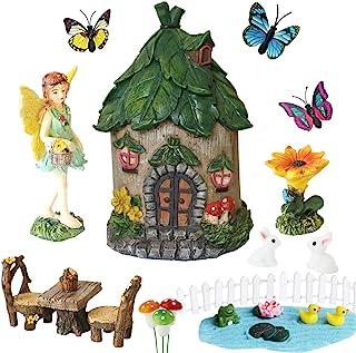 BangBangDa Miniature Fairy Garden Accessories - Small Fairy Figurines Decorations - Fairy House Table Chair Flower Kit for...