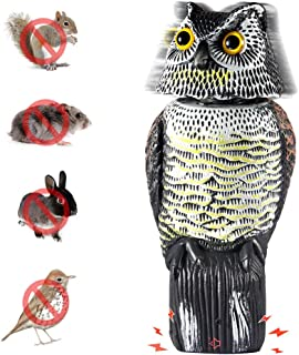 Asdomo Bird Repellent Owl Decoy with Rotating Head Scarecrow Repeller Natural Enemy Deterrent Sound for Birds, Mice, Squirrels, Rabbits More