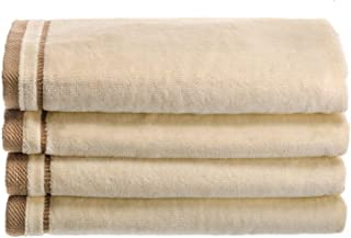 Creative Scents Cotton Velour Fingertip Towel - 4 Piece Set, 11 by 18-Inch, Cream with Embroidered Brown Trim
