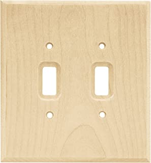 Franklin Brass W10394-UN-C Square Double Toggle Switch Wall Plate/Switch Plate/Cover, Unfinished Wood