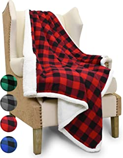 Catalonia Buffalo Plaid Sherpa Throw Blanket,Micro Fleece Plush Throws for Bed Couch TV|Reversible,Super Soft,Warm,Comfy,Fuzzy,Snuggle|60x50 Inches,Red Checkered