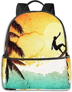 Mochila Tipo Casual Mochila Escolares Mochilas Escolar Estilo Impermeable para Viaje de Ordenador Portátil para Hombre Mujer Surf Sea Surfer