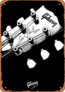 EICOCO Guitars Music Gibson Les Paul Headstock Plaque Poster Metal Tin Sign 8