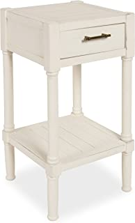 Kate and Laurel Meacham Side End Table with Drawer and Lower Shelf, Antique White