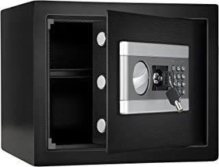 1.0 Cub Fireproof and Waterproof Safe Box, Dual-Security Steel Safe Cabinet with Keypad LED Indicator, Digital Combination...