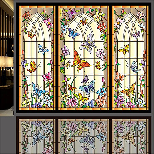 "OstepDecor Custom Multicolor Butterfly Opaque Adhesive Films Glass Stickers 2pcs (18"" W x 24"" H)"