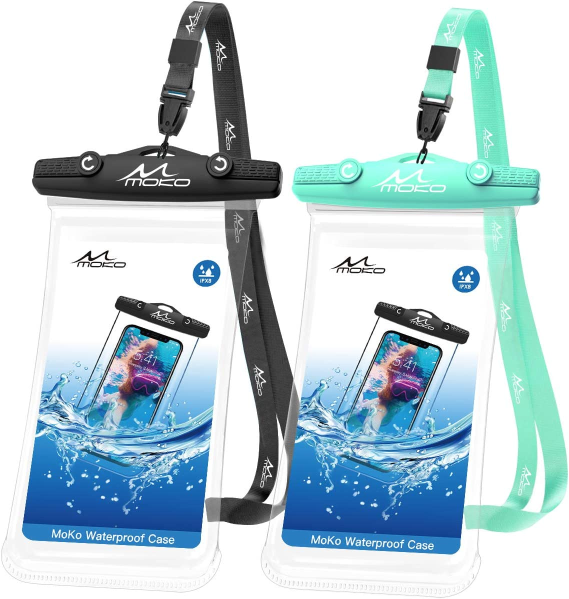 MoKo Waterproof Phone Case, [2 Pack] Underwater Phone Pouch Dry Bag with Lanyard Compatible with iPhone 12 Mini/12/12 Pro, iPhone 11/11 Pro/11 Pro Max, X/Xs/Xr/Xs Max/8/7, Samsung Note 10, S21/S10
