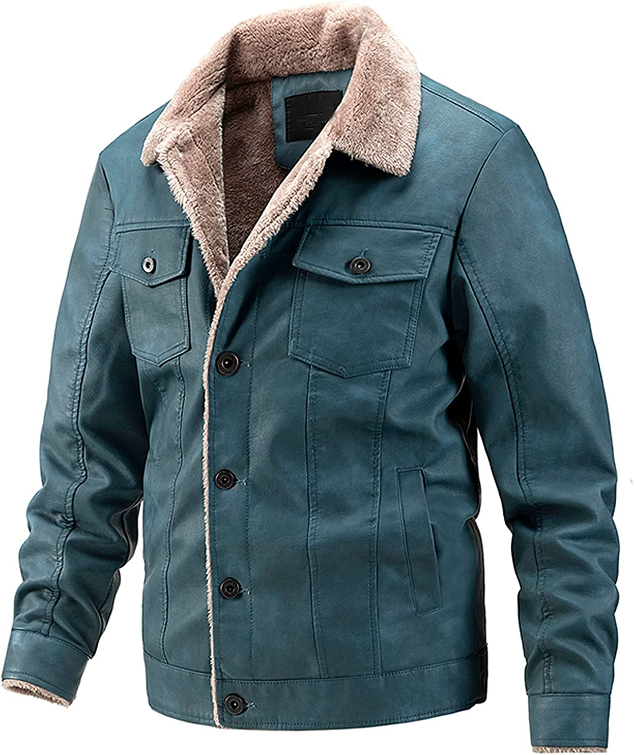 Beshion Winter Warm Coats for Men Casual Lined Jacket Fur Collar Quilted Coat Pockets Jackets Button Biker Overcoat