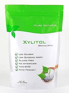 Pure Natural, Xylitol Sweetener, 1.5 lb Non GMO, Keto Friendly, Gluten Free, Sugar Free, Low Calories