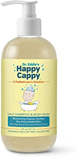Dr. Eddie's Happy Cappy Daily Shampoo & Body Wash for Children, Soothes Dry, Itchy, Irritated, Sensitive Skin, Dermatologist Tested, Fragrance Free, Dye Free, Sulfate Free, 8 oz