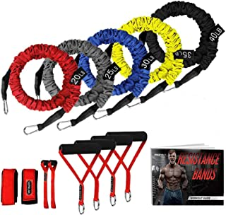 SUPALAK Resistance Bands, 15 Pieces Exercise Elastic Bands Set, 20lbs to 40lbs Resistance Tubes with Heavy Duty Protective...