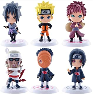 Mopoq 6 Pcs Q Version Naruto Doll Model, Anime Puppets Figure PVC Toys, Collectible Anime Character Decoration Figurine, N...