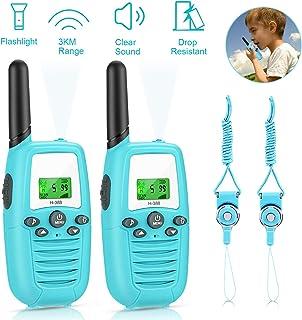 Gifort Walkie Talkie, Walkie Talkie Niños 16 Canales 3KM Rango LED Linterna Incorporada LCD Pantalla Función VOX Juguete de Camping al Aire Libre Regalos para Niños de 3+ años(2 Piezas, Azul)