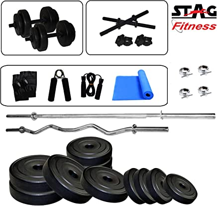 Stag 5 ft Straight and 3 Ft Curl Rod with Yoga Mat Home Gym Set (8kg / 12kg / 16kg / 20kg)