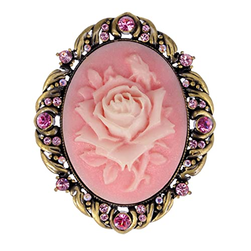 7ebfedd23fa Alilang Vintage Inspired Antique Reproduct Rose Pink Crystal Flower Cameo  Pin Brooch