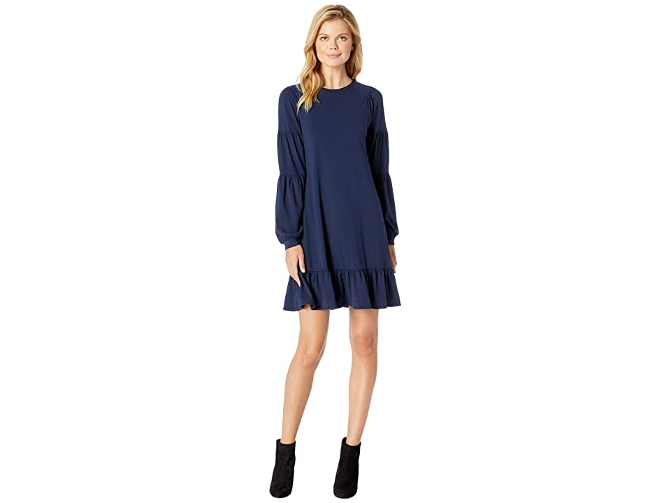 Mod-o-doc Cotton Modal Spandex Jersey Shirred Balloon Sleeve Dress with Ruffle Hem (True Navy) Women