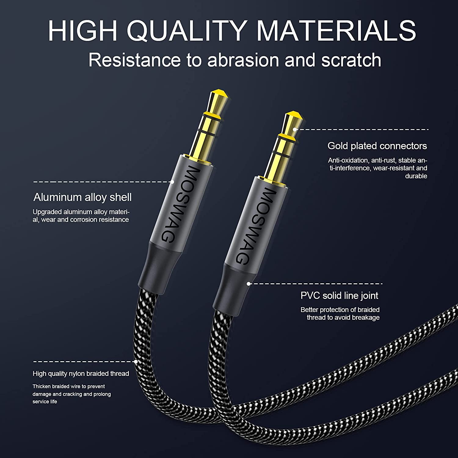 MOSWAG 3.5mm Aux Cord to 3.5mm Audio Aux Jack Cable Male to Male Aux Cable Nylon Braided Stereo Jack Cord for Phones,Headphones,Speakers,Tablets,PCs,Music Players and More (1.64FT/0.5M, Black)