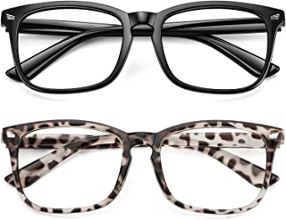 WOWSUN Unisex Stylish Nerd Non-prescription Glasses, Clear Lens Eyeglasses Frames, Fake Glasses
