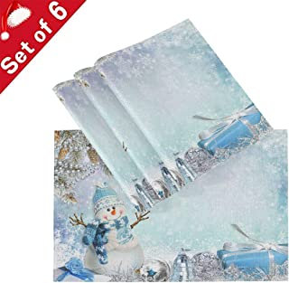 Christmas Snowman Placemats Table Mats Placemat Set of 6 for Kitchen Dining Table Xmas Winter New Year Snowflake Non-Slip Washable Holiday Place Mats 12x18 inch Heat Resistant Tablemats for Home Decor