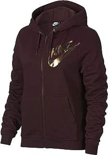 Women's Metallic Logo Zip Fleece Hoodie, Burgundy