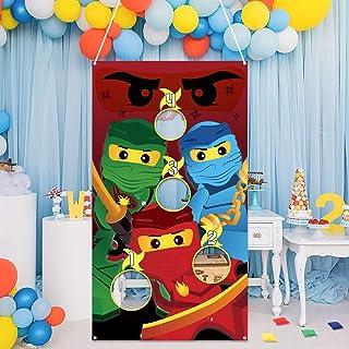 MALLMALL6 Ninja Toss Game for Kids Ninja Theme Family Party Favor Supplies Children Adults Tossing Bean Bags Cartoon Poste...