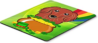 Caroline's Treasures BB1958MP Longhair Red Dachshund St. Patrick's Day Mouse Pad, Hot Pad or Trivet, Large, Multicolor
