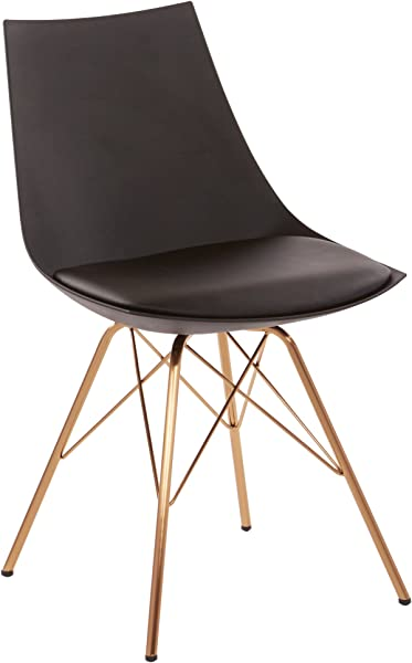 AVE SIX Oakley Faux Leather Task Chair With Gold Chrome Base Black