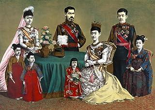 日本帝国家Na 明治天皇の肖像画と彼の王室クロモリトグラフ 葛西広作 C1900 ポスター プリント (18 x 24)