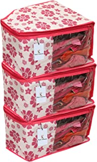 Kuber Industries 3 Piece Non Woven Blouse Cover Set, Pink (CTS00836)