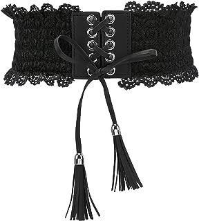 Womens Lace Elastic Waist Belts Tassel Band Corset Fashion Accessories for Dresses