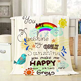 Mugod Beautiful Greeting Card Throw Blanket You are My Sunshine with Bird Cloud Rainbow and Sun Decorative Soft Warm Cozy Flannel Plush Throws Blankets for Baby Toddler Dog Cat 30 X 40 Inch