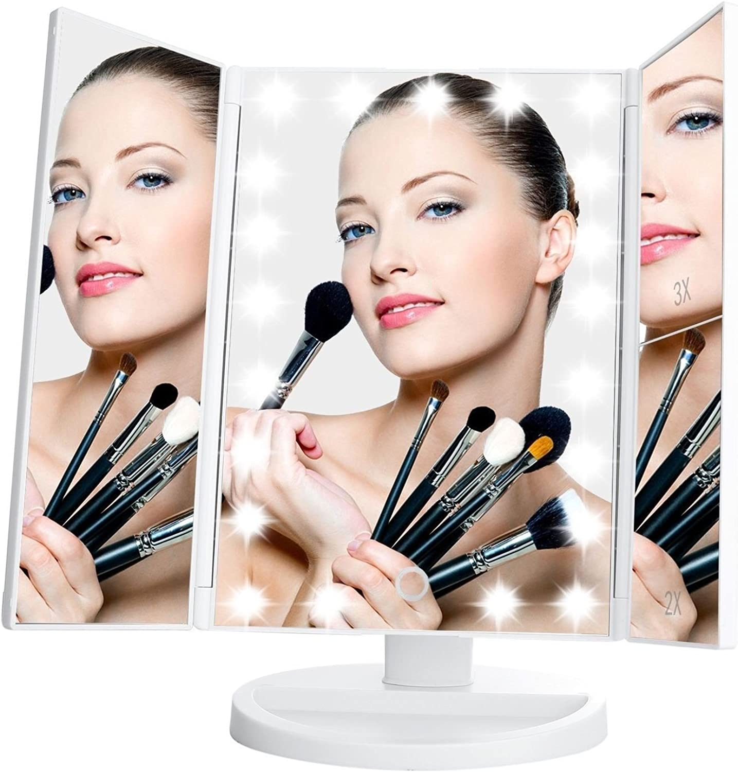 Makeup Mirror,Lighted Vanity Mirror with 21 LED Lights Touch Screen and 3X 2X 1X Magni.