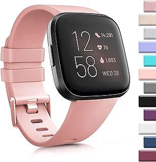 AK 3 Pack Soft TPU Bands Compatible with Fitbit Versa/Versa 2/Versa SE, Elastomer Wristband Sports Waterproof Strap for Fi...