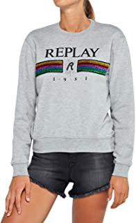 Replay Damen W3012 .000.22390 Sweatshirt, Grau (Medium Grey