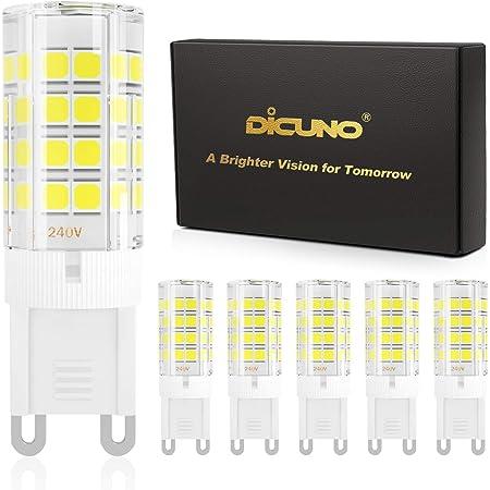 DiCUNO Ampoule LED G9 4W (Équivalent 40W Ampoules Halogènes), 450LM, 220V, Blanc froid 6000K, AC100-240V, NON-Dimmable, Économie d'énergie, Base en céramique, Culot G9 Standard, Lot de 6