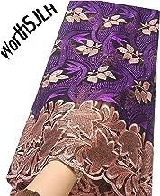 WorthSJLH African Lace Fabric 2019 Cord Nigerian Lace Fabric Wedding French Tulle Net Lace Fabric for Dresses J842 (Purple)