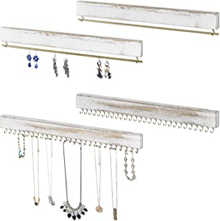 MyGift 4-Piece Wall Mounted Rustic Whitewashed Wood Jewelry Necklace, Bracelet & Earring Storage Rack Set