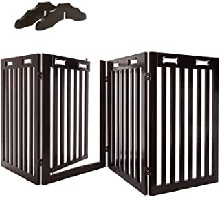 """Best Arf Pets Free Standing Wood Dog Gate with Walk Through Door, Expands Up to 80"""" Wide, 31.5"""" High - Bonus Set of Foot Supporters Review"""