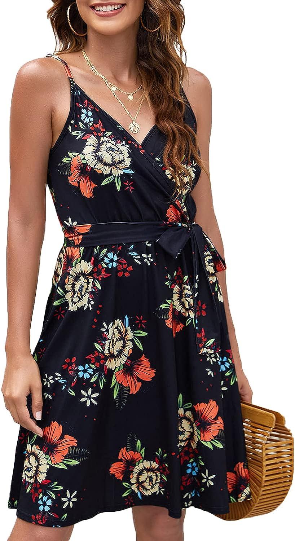 POGTMM Women's Summer Floral Dress V Neck Spaghetti Strap Midi Dress Casual Swing Sundress with Pockets