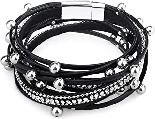 Gleamart Multi-Layer Leather Bracelet Beads Wrap Cuff Bangle for Wome