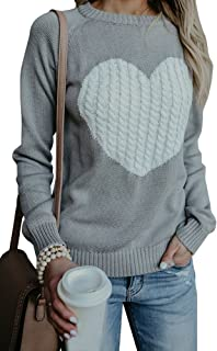 Women's Cute Cable Knitted Pullover Sweaters Crewneck Heart Patchwork Jumpers Tops